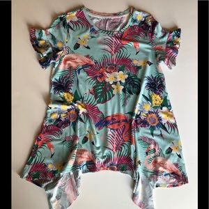 Westbound Flamingo Tropical Print Tee